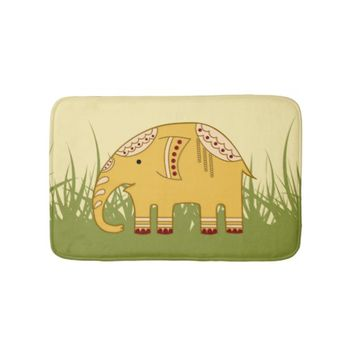 Golden Cute Elephant on Grass Bath Mat