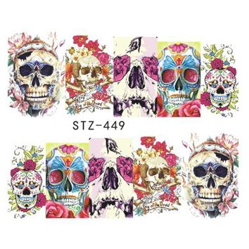 1 Sheets New 2017 Nail Sticker Watermark Full Tips Skull Bone Stencils for Nail Art Halloween Party Decorations CHBN181-252/STZ
