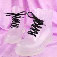 Fashion-Ankle Lace-Up transparent crystal ms candy color flat for rain boots