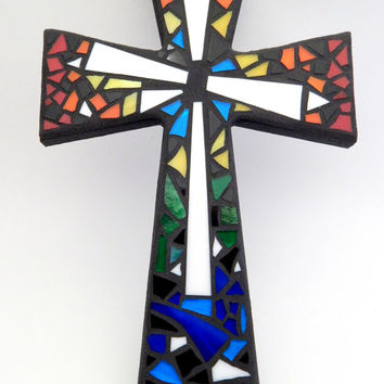 "Mosaic Wall Cross, Rainbow + White Glass, Multicolored Handmade Stained Glass Mosaic Design, 12"" x 8"""