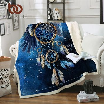 BeddingOutlet Dreamcatcher Sherpa Blanket Blue Galaxy Bedspread Bald Eagle Velvet Plush Beds Blanket Bohemian mantas para cama