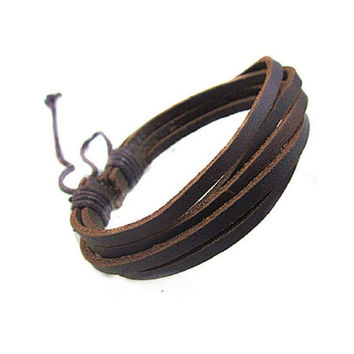 Genuine Leather Punk Bracelet For Men/women On Sale