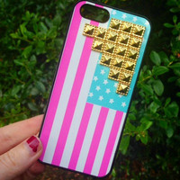 Studded Phone Case Stars & Stripes USA Gold Cross Flag Cover iPhone 6 Case