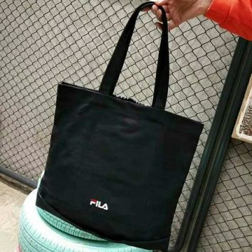 FILA Fashion new letter shoes print travel high capacity women and men canvas handbag shoulder bag Black