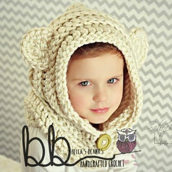 Hooded Bear Cowl (crochet) - all sizes - made to order