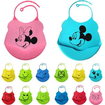 15colors new design Baby bibs waterproof silicone feeding baby saliva towel newborn cartoon waterproof aprons Baby Bibs
