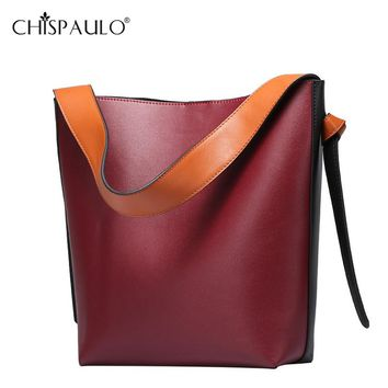 Women Fashion Genuine Leather Bag Designer Handbags Two Tone Large Capacity Cowhide Tote Bag Famous Brands Wide Shoulder Strap