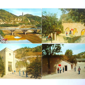 Colection of 12 China Vintage Colored Postcards - Yenan - 70s
