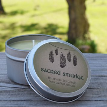 SACRED SMUDGE CANDLE - Clear Negative Energy from Your Home or Office
