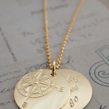 Gold Filled Jewelry - Compass Rose Necklace w/ Hidden Message - Personalized Inspirational Jewelry in 14K Yellow GF
