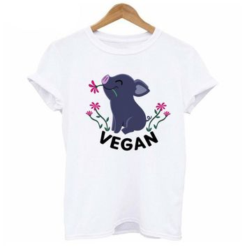 Vegan T-Shirt Women eat fruit not friends print shirt harajuku kawaii tumblr O neck girl t shirt Female White tshirt WT579