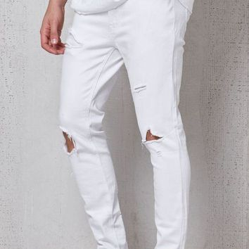 DCCKJH6 Skinniest Destroyed White Stretch Jeans