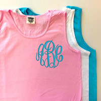 New Colors!  Monogrammed Comfort Colors Tank Top  Font Shown Master Circle in light pool