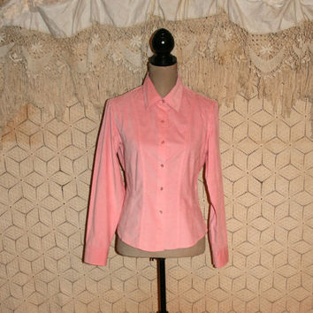 Pink Corduroy Blouse Womens Shirt Long Sleeve Button Up Blouse Pink Blouse Fitted Tailored Western Boho Talbots Medium Large Womens Clothing