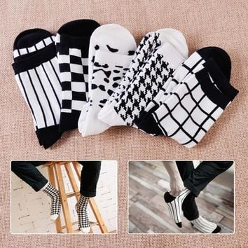 1 Pair New Autumn Fashion Women Casual Cotton Classic Houndstooth Stripe Plaid Leopard Mosaic Crew Ankle Socks Spring Wear