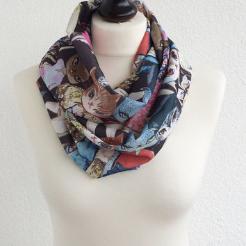 Cat Scarf, Colorful Cats Circle Scarf, Animal Infinity Scarf, Unisex Cat Scarf, Soft Lightweight Fashion Scarves, Gift, Designscope