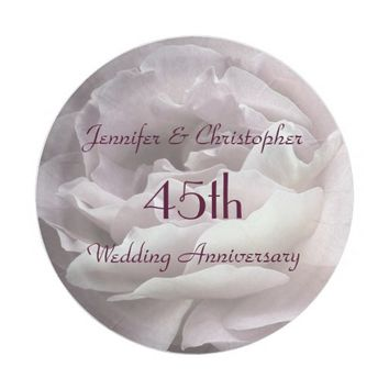 Pink Rose Paper Plates, 45th Wedding Anniversary Paper Plate