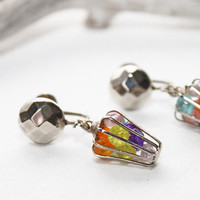 Caged Colored Crystals Vintage Earrings