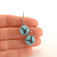 Reindeer dangle earrings, cyan turquoise blue fused glass earrings with metallic blue-red reindeer, Christmas jewelry, small gift for friend