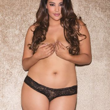 iCollection Lingerie Plus size Just Deserts Lace Tanga panty