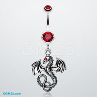 Jeweled Eye Dragon Belly Ring