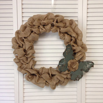 "18"" Burlap Wreath with Decorative Metal Butterfly, Wreath for All Year, Primitive Wreath, Shabby Chic Decor, Unique Wreath"