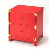 Ardennes Modern Rectangular Chairside Chest Red