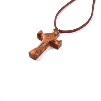 Cross Necklace, Wood Cross, Wooden Cross Pendant, Hand Carved Cross, Christian Jewelry, Wooden Cross, Wooden Pendant, Carved Cross Pendant
