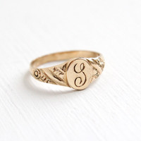 Antique Edwardian Monogrammed L 10k Yellow Gold Ring - Vintage Size 1 1/2 Baby Midi Etched Initial Signet Sursive Letter L Jewelry