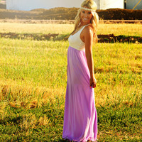 THE SWEETHEART CHIFFON MAXI DRESS IN LILAC
