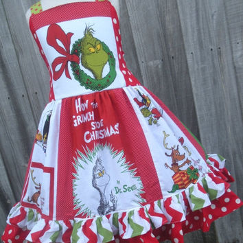 ON SALE Ready to Ship Custom Boutique Christmas Grinch Fabric Dress Girl 4 5