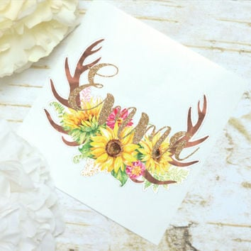 Antlers Sunflower Monogram Decal, Watercolor Flowers, Glitter Monogram Sticker, Tumbler Decal, Watercolor Peonies, Printed Decal