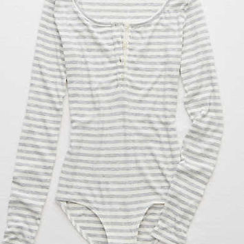Aerie Real Soft® Henley Bodysuit, Medium Heather