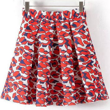 Red and White Abstract Print Pleated Skirt
