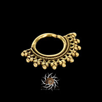 Afghan Brass Septum Ring - Septum Jewelry - Septum Piercing - 18G Septum Ring - Indian Septum Ring - Tribal Septum Ring - Septum Clicker