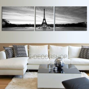 LARGE Wall Art Eiffel Tower Black and White - Paris Canvas Print  Ready to Hang 3 Panels Stretched on Deep 3cm Frame