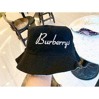 Burberry 2019 new letter embroidery men and women fisherman hat Black
