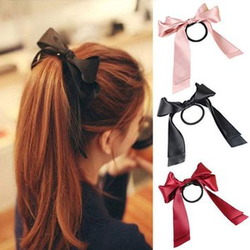 DCCKL72 MOONBIFFY 1X Women Tiara Satin Ribbon Bow Hair Band Rope Scrunchie Ponytail Holder Hair Braider Styling Accessories Tools