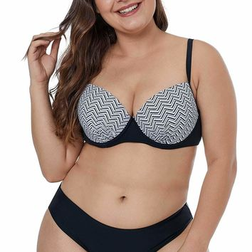 Waves Print Cups Plus Size Bikini Swimwear
