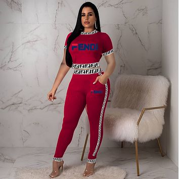 Fendi Women Fashion Letter Pattern Print Long Sleeve Trousers Set Two-Piece Sportswear