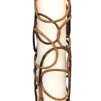 Contemporary Metal Abaca Floor Lamp with Sturdy Design in Brown