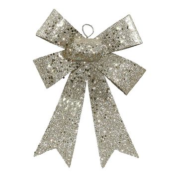 "7"" Champagne Sequin and Glitter Bow Christmas Ornament"