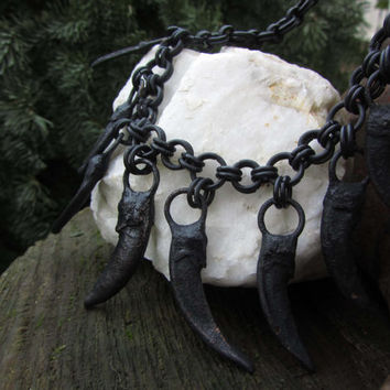 Claws of Brokkr Amulet Necklace - Copper Electroformed Real Badger Claw Charms