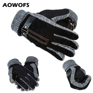 1 Pair Men's Leather Glovers Thinsulate Soft Feel Fully Lined Winter Warm Walking Mittens Leather Driving Gloves Men Black Brown