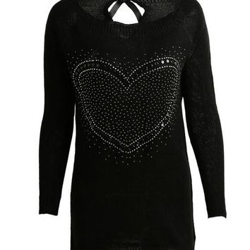 Black Love Print Cut Out Bow Tie Back Fashion Pullover Sweater
