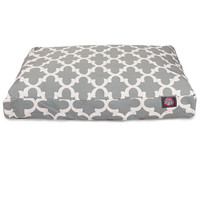 Gray Trellis Medium Rectangle Dog Bed