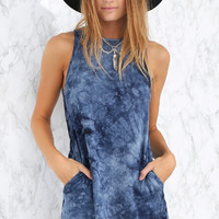 Blue Tie Dye Dress with Pockets