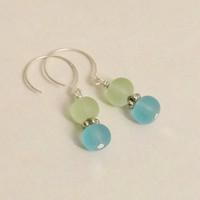 Blue Green Seaglass Earrings on Sterling Silver