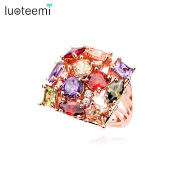 LUOTEEMI Luxury  Trendy Rose Gold-Color-Colorful Cubic Zirconia Micro Paved Big Size Bands Wedding Party Rings for Women