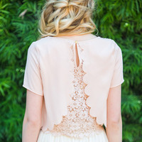 Keira Blush Scallop Lace Top